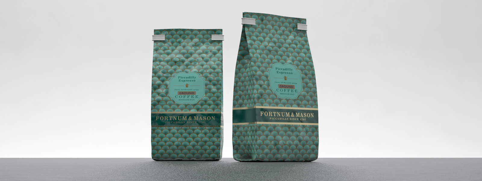 Fortnum and Mason 227g coffee foil bag packaging